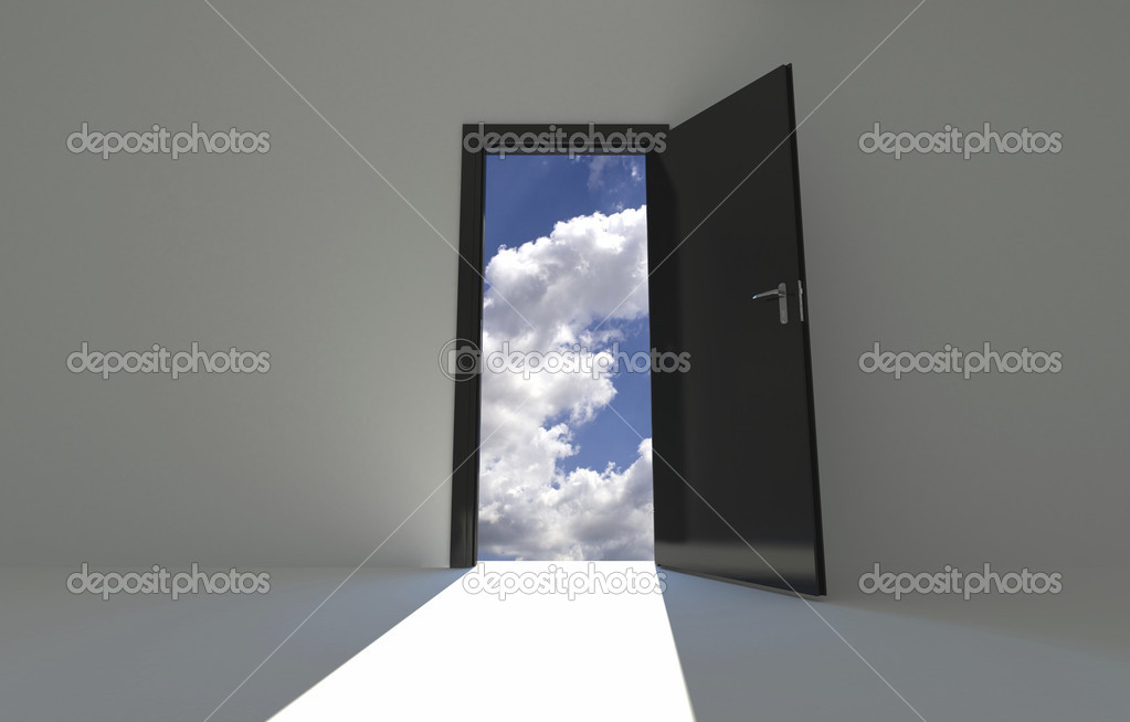 Wall Background with opened door on sky background — Stock Photo #12796003