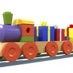 Gift Boxes on Toy Train — Stock Photo