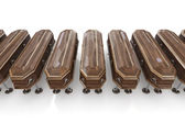 Isolated casket in line — Stock Photo