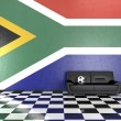 Stock Photo: Sofin Room with South AfricFlag on Background