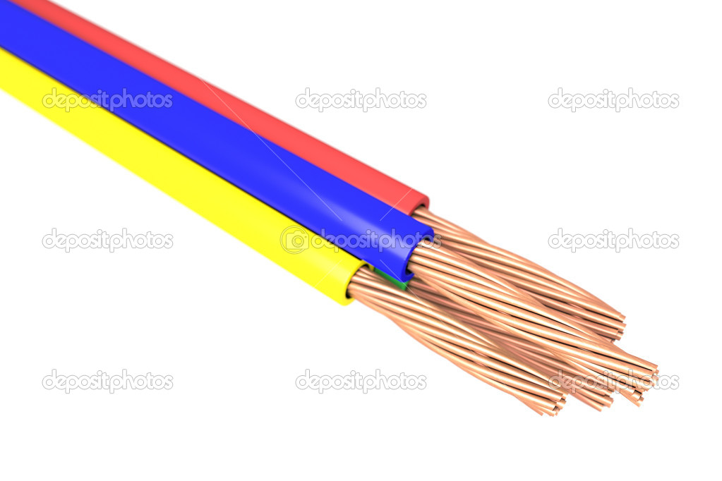 Copper cable - Four isolated wire copper cable on white background — Stockfoto #14970527