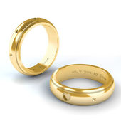 Wedding gold rings isolated on white background — 图库照片