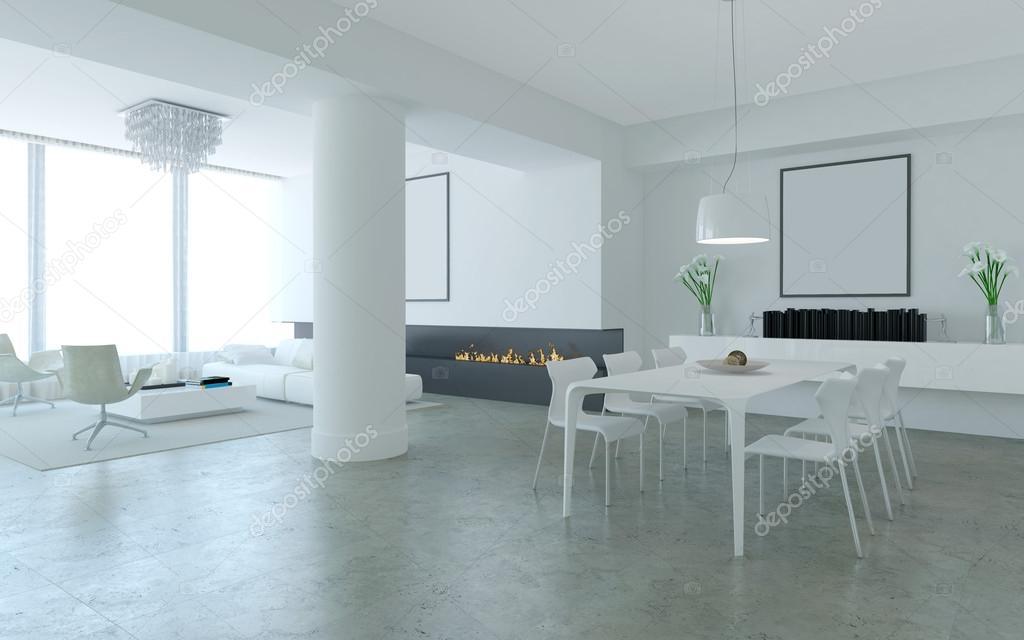 White minimalist lounge style living and dining room with for Minimalist lounge