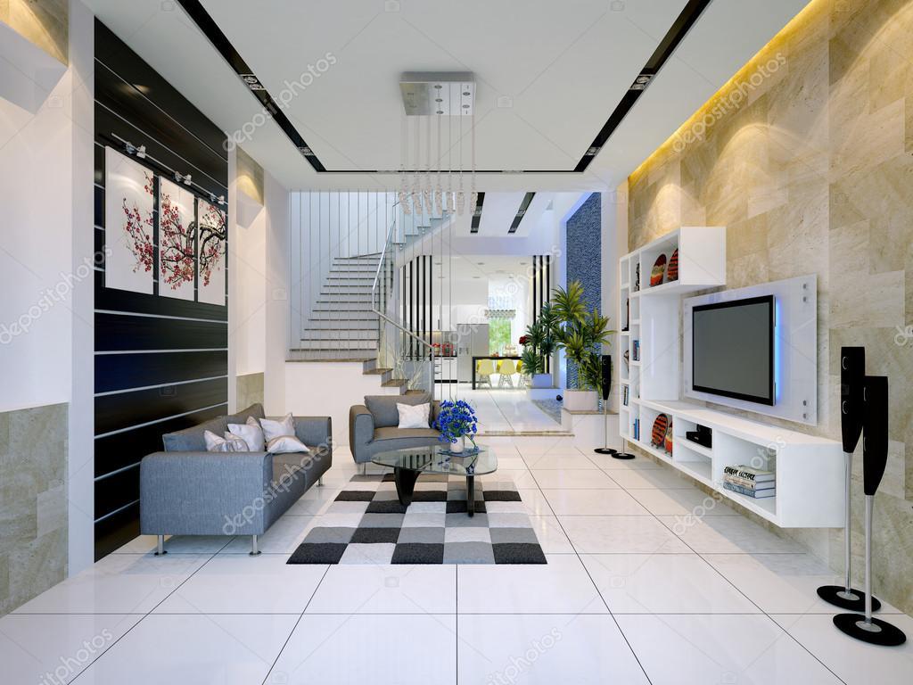 Int rieur dune maison moderne avec salon et salle manger photographie 13538951 for Interieur salon moderne