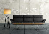A modern brown sofa and lamp against concrete background on woo — Stock Photo