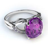 Plata diamante anillo aislado sobre fondo blanco — Foto de Stock