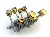 V8 engine pistons on crankshaft — Stock Photo