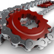 Sprocket with metal link chain — Stock Photo