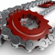 Stock Photo: Sprocket with metal link chain