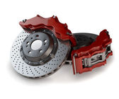 Brake Discs with Red Callipers from a Racing Car isolated on whi — Stock Photo