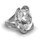 Wedding silver diamond ring isolated on white background — Stock Photo
