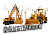 Construction background with bulldozer and loader — Stock Photo