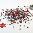 Pile of nuts and bolts from disassembled clutch isolated on whit — Stock Photo