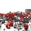 Closeup Pile of nuts and bolts from disassembled clutch isolated — Stockfoto #27639275