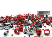 Closeup Pile of nuts and bolts from disassembled clutch isolated — Stock Photo