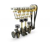 发动机的活塞、 阀门、 曲轴和凸轮轴上孤立 — 图库照片