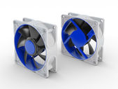 Front and back of computer performance cooling fan isolated on w — Stock Photo