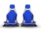 Dois assentos de couro da fibra do carbono isolados no branco backgrou de corrida — Fotografia Stock