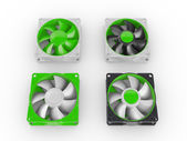 Computer performance cooling fans isolated on white background — Foto Stock