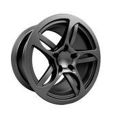 Polished chrome rim wheel on white — Stock Photo