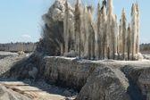 Blast in open pit — Stock Photo