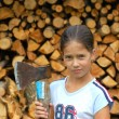 Girl with axe — Stok fotoğraf