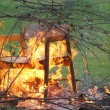 Stock Photo: Burning branches and chair