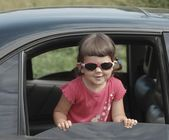 Portrait of baby in car — Stock Photo