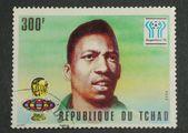 Retro post stamp with Pele image — Stock Photo