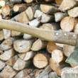 Stock Photo: Axe and firewoods