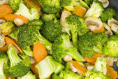 Stir Fried Broccoli with Carrots and Mushrooms — Stock Photo