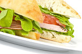 Focaccia Sandwich on White Plate — Stock Photo