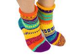 Woman Wearing a Pair of Wool Socks — Stock Photo