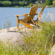 Stock Photo: Muskoka, Adirondack Chairs by Lake