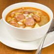 Hearty Bean Soup with Sweet Sausages — Stock Photo