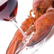 Stock Photo: Lobster and Wine