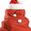 Santa Claus Gift Bag Isolated on White — Stock Photo