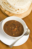 Bean Soup and Pita Bread — Stock Photo