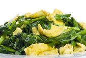 Closeup of Stir Fried Scramble Eggs and Chives — Stock Photo