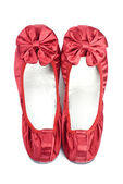 Red Satin Slippers Isolated on White — Stockfoto