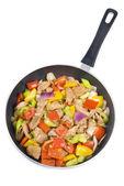 Stir Fried Pork Tenderloin and Vegetables in a Frying Pan — Stock Photo