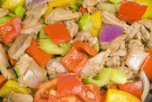 Close-up of Stir Fried Pork Tenderloin and Vegetables — Stock Photo