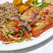 Stock Photo: PFried Red Snapper with Vegetables and Rice