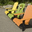 Colorful Plastic Adirondacks Chairs on Display — Stock Photo