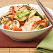 Stir Fried Chicken with Mushrooms Over Rice — Stock Photo #12339868
