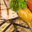 Grilled Chicken Breasts Served with Colorful Grilled Bell Peppers and Eggplant — Stock Photo