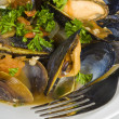 Foto Stock: Steamed Mussels