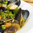 Steamed Mussels Served with Multi-grain Baguette — Stock Photo