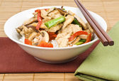 Stir Fried Chicken with Mushrooms Over Rice — Stock Photo