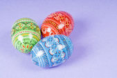 Easter Eggs on a Purple Background — Стоковое фото